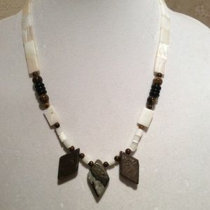 Natural stone with mother of pearl necklace